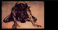 Crouch by Bowie - Charcoal and chalk on computer print 1994 - Print Edition of 14 - Minotaur Myths and Legends