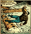 Clark in lumberjack outfit is having a crisis trying to find balance on a river log.