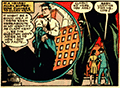 Left panel shows Clark changing back into civilian attire. Right panel shows up and Lois.