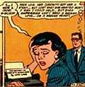 Lois is crying at work; Clark notices.